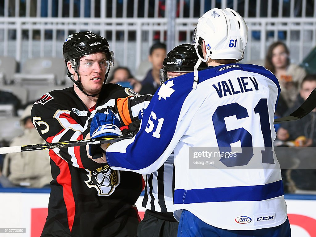 Cole Schneider #15 of the Binghamton Senators has a discussion with Rinat Valiev #61 of the Toronto Marlies during AHL game action on February 24, 2016 at Ricoh Coliseum in Toronto, Ontario, Canada.