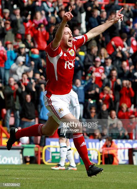 Cole Skuse of Bristol City celebrates his goal during the npower Championship match between Bristol City and Barnsley at Ashton Gate on April 21 2012...