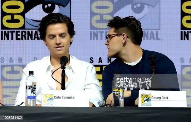 Cole Sprouse and Casey Cott speak onstage at the Riverdale special video presentation and QA during ComicCon International 2018 at San Diego...