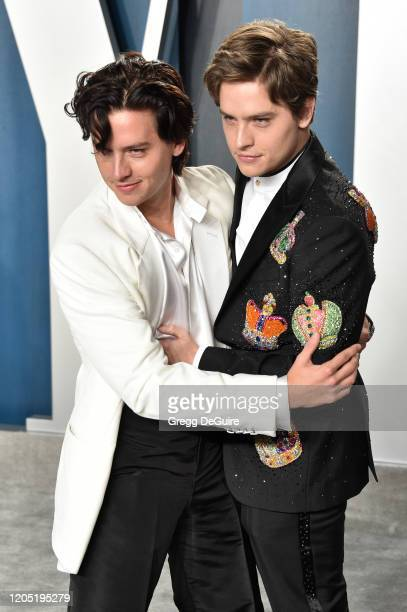 Cole Sprouse and Dylan Sprouse attend the 2020 Vanity Fair Oscar Party hosted by Radhika Jones at Wallis Annenberg Center for the Performing Arts on...