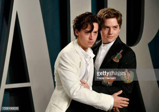 Cole Sprouse and Dylan Sprouse attends the 2020 Vanity Fair Oscar Party hosted by Radhika Jones at Wallis Annenberg Center for the Performing Arts on...