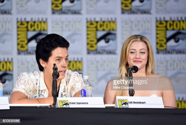"Cole Sprouse and Lili Reinhart attend ""Riverdale"" special video presentation and Q+A during Comic-Con International 2017 at San Diego Convention..."