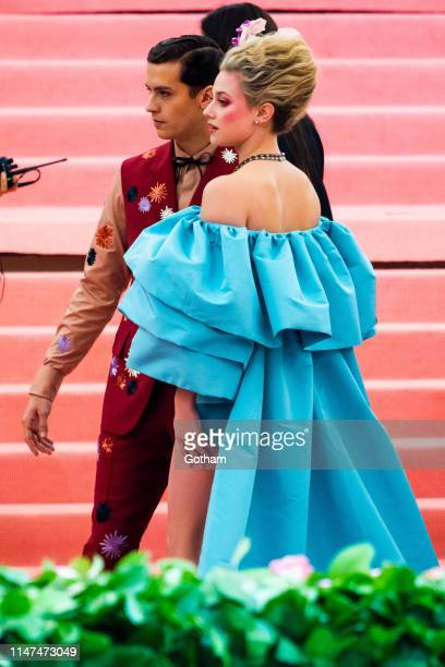 Cole Sprouse and Lili Reinhart attend the 2019 Met Gala celebrating 'Camp Notes on Fashion' at the Metropolitan Museum of Art on May 06 2019 in New...