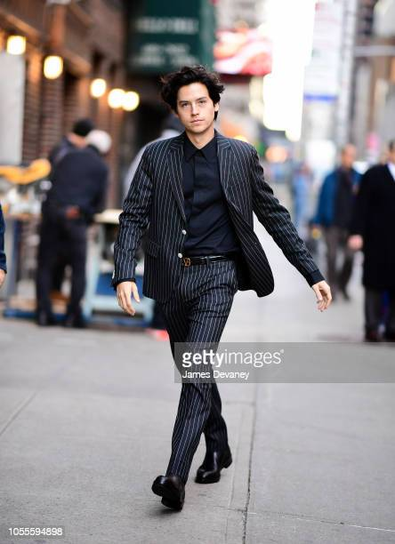 Cole Sprouse arrives to 'The Late Show With Stephen Colbert' at the Ed Sullivan Theater on October 30 2018 in New York City