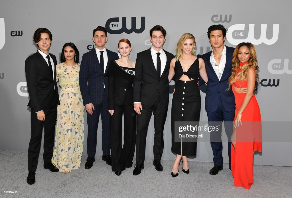 Cole Sprouse, Camila Mendes, Casey Cott, Madelaine Petsch, KJ Apa, Lili Reinhart, Charles Melton and Vanessa Morgan attend the 2018 CW Network Upfront at The London Hotel on May 17, 2018 in New York City.