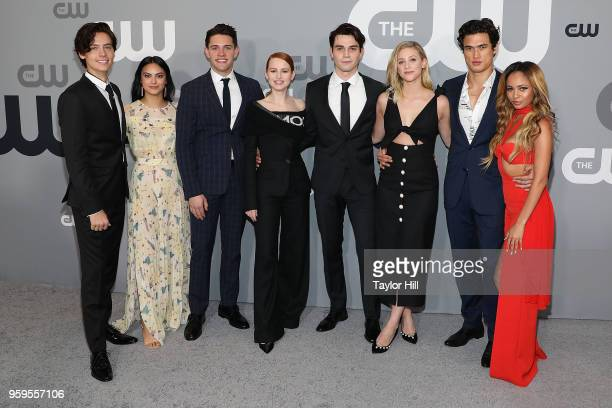 Cole Sprouse Camila Mendes Casey Cott Madelaine Petsch KJ Apa Lili Reinhart Charles Melton and Vanessa Morgan attend the 2018 CW Network Upfront at...