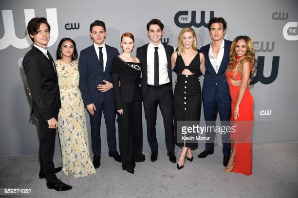 Cole Sprouse Camila Mendes Casey Cott Madelaine Petsch KJ Apa Lili Reinhart Charles Melton and Vanessa Morgan attend The CW Network's 2018 upfront at...