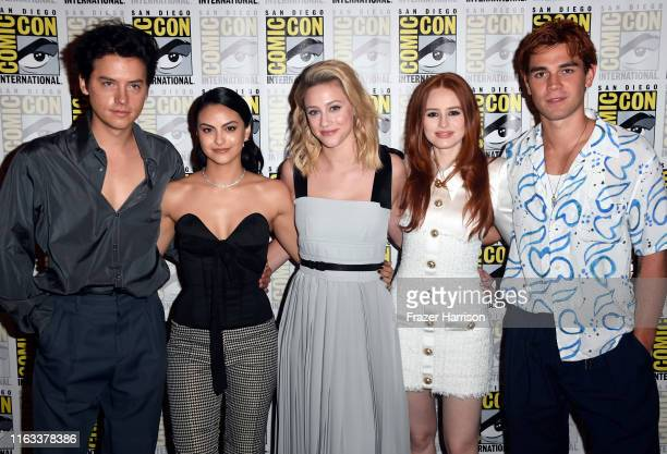 "Cole Sprouse, Camila Mendes, Lili Reinhart, Madelaine Petsch, and K.J. Apa attend the ""Riverdale"" Photo Call during 2019 Comic-Con International at..."