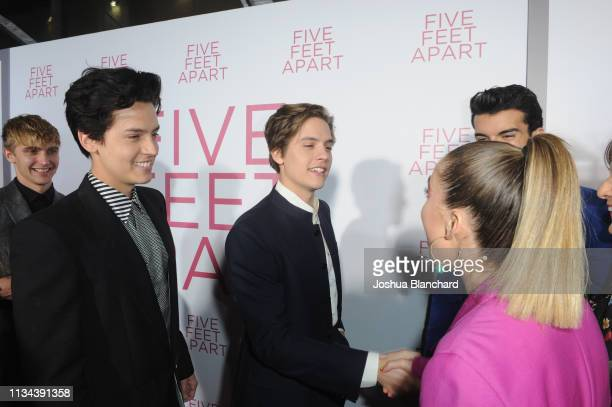 Cole Sprouse Dylan Sprouse and Haley Lu Richardson attend the Five Feet Apart Los Angeles premiere on March 07 2019 in Los Angeles California