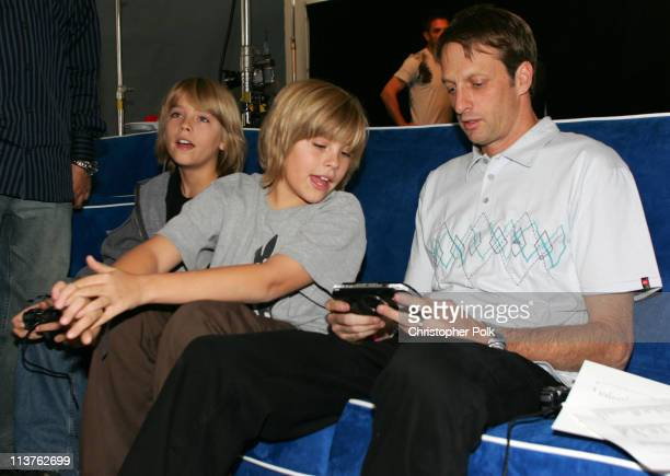 Cole Sprouse Dylan Sprouse and Tony Hawk during Sony Computer Entertainment America and the Bruce Willis Foundation Present Playstation BANDtogether...