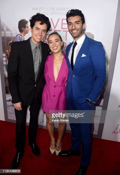 Cole Sprouse Haley Lu Richardson and Justin Baldoni arrive at the premiere of CBS Films' Five Feet Apart at the Fox Bruin Theatre on March 07 2019 in...