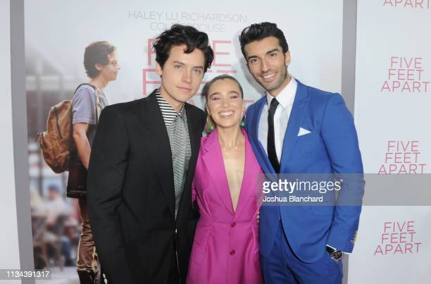 Cole Sprouse Haley Lu Richardson and Justin Baldoni attend the Five Feet Apart Los Angeles premiere on March 07 2019 in Los Angeles California