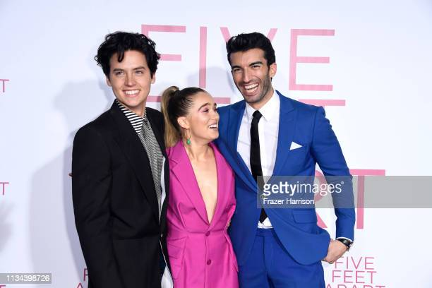 Cole Sprouse Haley Lu Richardson Justin Baldoni attend the Premiere Of Lionsgate's Five Feet Apart at Fox Bruin Theatre on March 07 2019 in Los...