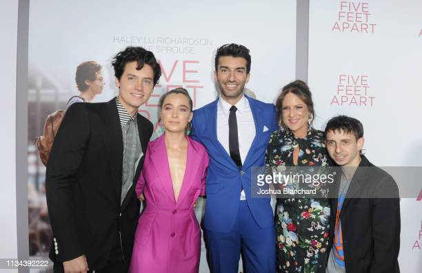 Cole Sprouse Haley Lu Richardson Justin Baldoni Cathy Schulman and Moisés Arias attend the Five Feet Apart Los Angeles premiere on March 07 2019 in...