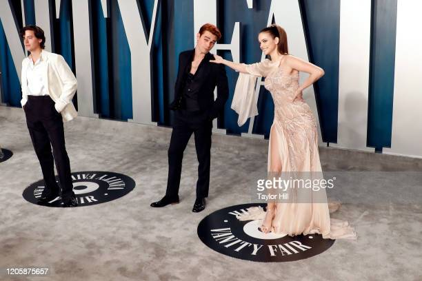 Cole Sprouse KJ Apa and Barbara Palvin attend the Vanity Fair Oscar Party at Wallis Annenberg Center for the Performing Arts on February 09 2020 in...