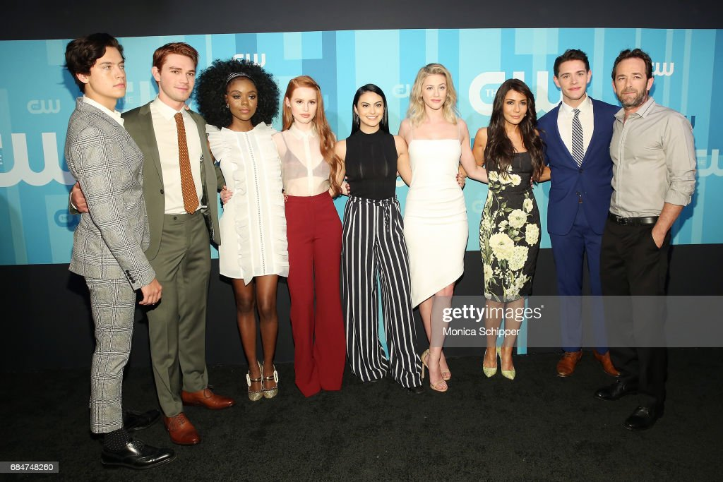 Cole Sprouse, KJ Apa, Ashleigh Murray, Madelaine Petsch, Camila Mendes, Lili Reinhart, Marisol Nichols, Casey Cott and Luke Perry attend the 2017 CW Upfront on May 18, 2017 in New York City.