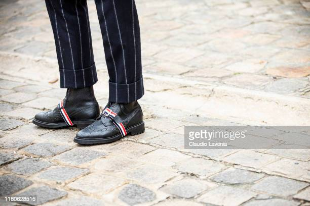 Cole Sprouse shoes details is seen outside the Thom Browne show during Paris Fashion Week Womenswear Spring Summer 2020 on September 29 2019 in Paris...
