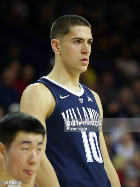 Cole Swider of the Villanova Wildcats during a game against the Penn Quakers at The Palestra on the campus of the University of Pennsylvania on...