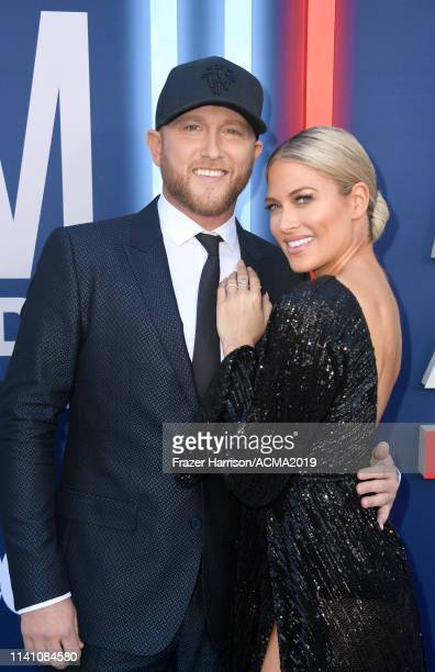 Cole Swindell and Barbie Blank attend the 54th Academy Of Country Music Awards at MGM Grand Hotel Casino on April 07 2019 in Las Vegas Nevada