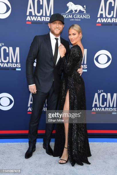 Cole Swindell and Barbie Blank attend the 54th Academy Of Country Music Awards at MGM Grand Garden Arena on April 07 2019 in Las Vegas Nevada
