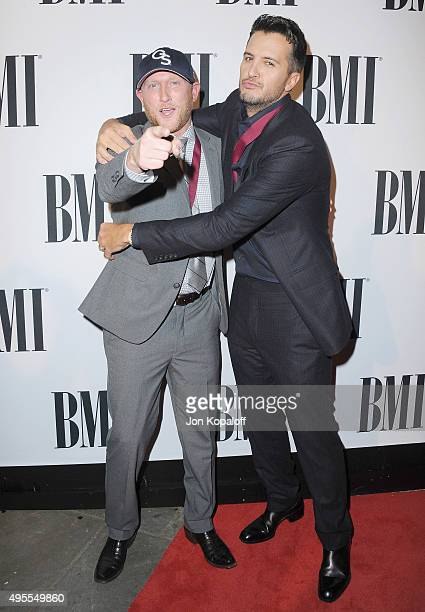 Cole Swindell and Luke Bryan attend the 63rd annual BMI Country awards on November 3 2015 in Nashville Tennessee