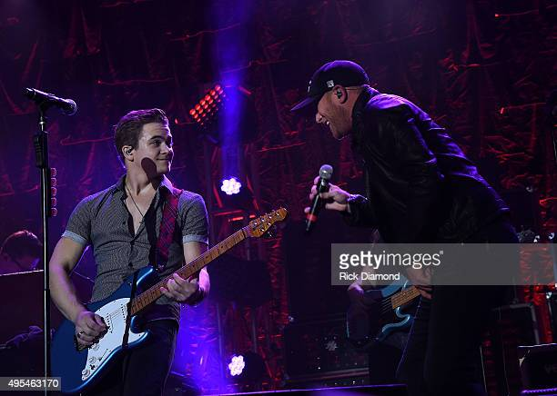 Cole Swindell performs at Hunter Hayes 2nd Annual CMA Awards Week Street Party on November 2 2015 in Nashville Tennessee