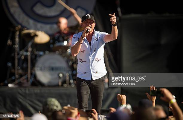 Cole Swindell performs during Kenny Chesney's The Big Revival Tour Jason Aldean's Burn It Down 2015 at Rose Bowl on July 25 2015 in Pasadena...