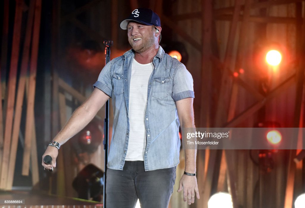 Cole Swindell performs during the 'What The Hell' world tour at Toyota Amphitheatre on August 19, 2017 in Wheatland, California.