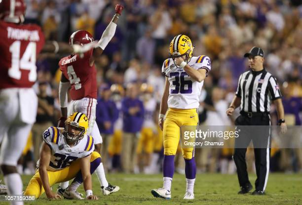 Cole Tracy of the LSU Tigers reacts after missing a second half field goal while playing the Alabama Crimson Tide at Tiger Stadium on November 3 2018...