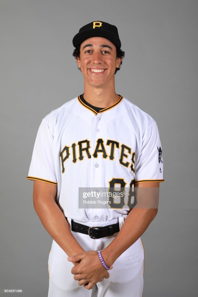 Cole Tucker #88 of the Pittsburgh Pirates poses during Photo Day on Wednesday, February 21, 2018 at LECOM Park in Bradenton, Florida.