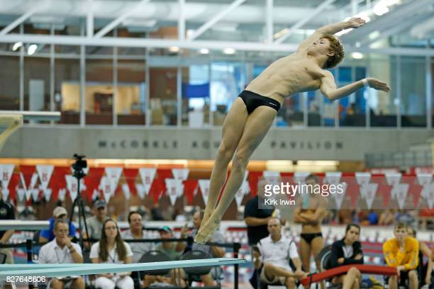 Cole VanDevender of the Fishers Diving Team competes during the Senior Men's 1m Semi Final during the 2017 USA Diving Summer National Championships...