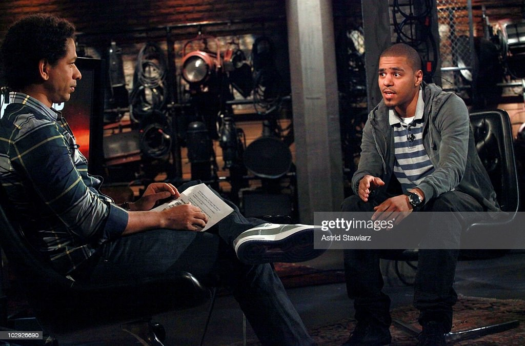 J. Cole (R) visits Fuse's 'Hip Hop Shop' and talks to host Toure (L) during a taping of an episode that will air on July 21, 2010. This episode was taped at fuse Studios on July 15, 2010 in New York City.