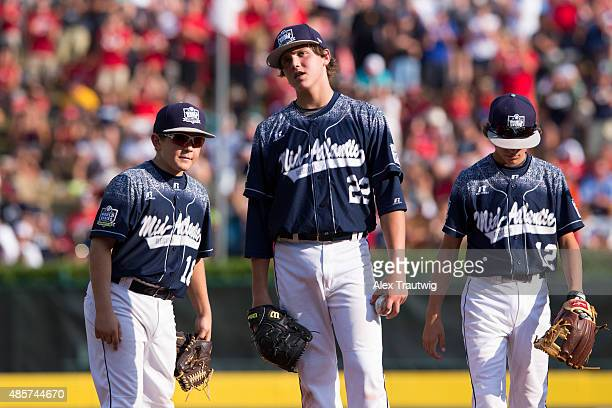 Cole Wagner of the MidAtlantic Team from Red Land Little League reacts to reaching his pitching limit during the US Championship game against the...