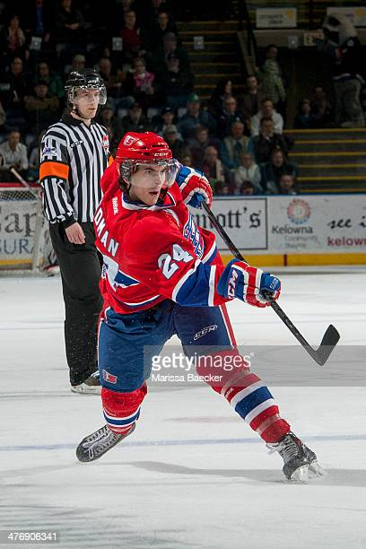 Cole Wedman of the Spokane Chiefs takes a shot on net against the Kelowna Rockets during second period on March 5, 2014 at Prospera Place in Kelowna,...