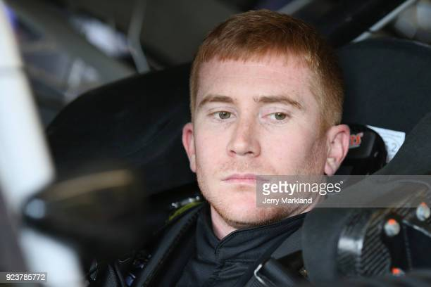 Cole Whitt driver of the Chevrolet sits in his car during practice for the Monster Energy NASCAR Cup Series Folds of Honor QuikTrip 500 at Atlanta...