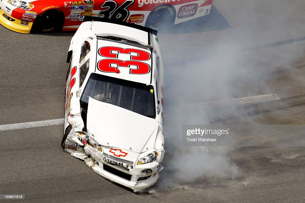 Cole Whitt, driver of the #33 Little Joes Autos.com Chevrolet, spins out after an incident in the NASCAR Sprint Cup Series Good Sam Roadside Assistance 500 at Talladega Superspeedway on October 7, 2012 in Talladega, Alabama.