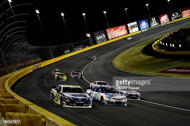 Cole Whitt driver of the Swan Energy Toyota Bobby Labonte driver of the Scott Products Toyota and Brian Vickers driver of the Aaron's Dream Machine...