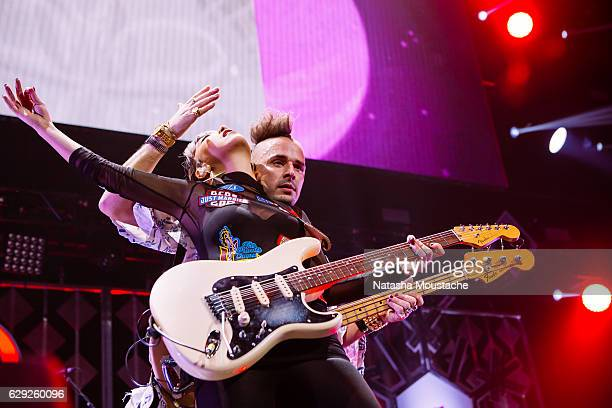 Cole Whittle and JinJoo Lee of DNCE perform onstage at TD Banknorth Garden on December 11 2016 in Boston Massachusetts