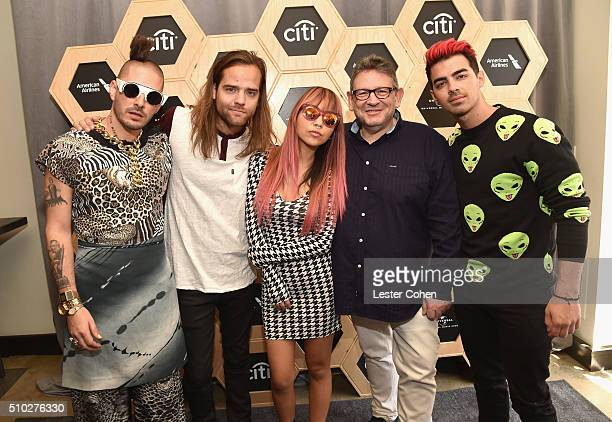 Cole Whittle Jack Lawless JinJoo Lee Lucian Grainge CBE Chairman and CEO of UMG and Joe Jonas attend Lucian Grainge's 2016 Artist Showcase Presented...