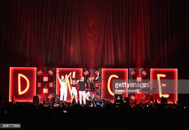 Cole Whittle JinJoo Lee singer Joe Jonas and Jack Lawless of DNCE perform during opening night of the Selena Gomez 'Revival World Tour' at the...