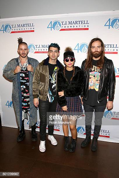 Cole Whittle Joe Jonas JinJoo and Jack Lawless of DNCE attend TJ Martell Foundation's 16th Annual New York Family Day at Wythe Hotel on December 13...