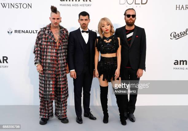 Cole Whittle Joe Jonas JinJoo Lee and Jack Lawless from DNCE arrive at the amfAR Gala Cannes 2017 at Hotel du CapEdenRoc on May 25 2017 in Cap...