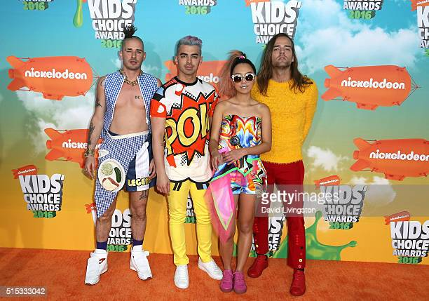 Cole Whittle Joe Jonas JinJoo Lee and Jack Lawless of DNCE attend Nickelodeon's 2016 Kids' Choice Awards at The Forum on March 12 2016 in Inglewood...