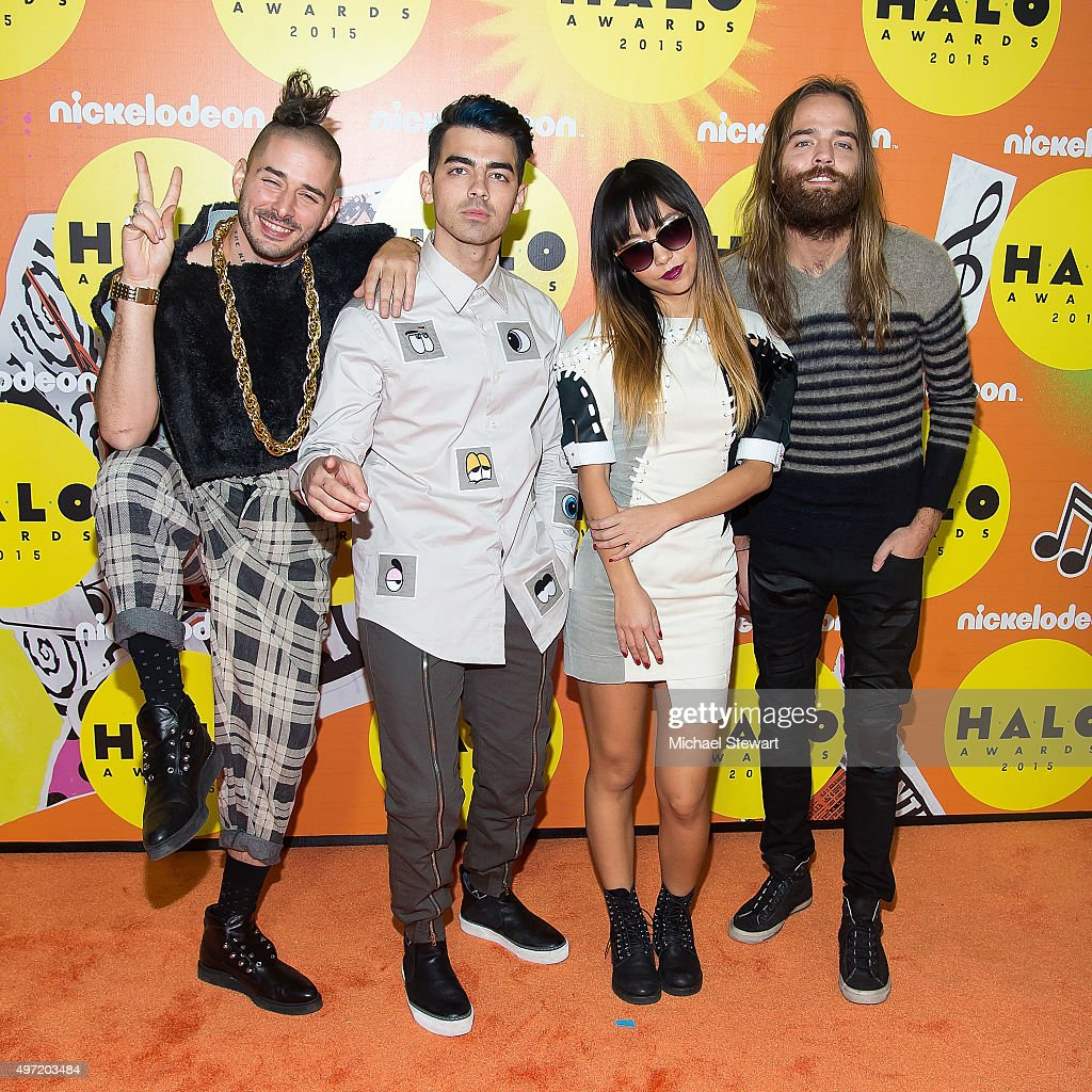 Cole Whittle, Joe Jonas, JinJoo Lee and Jack Lawless of DNCE attend the 2015 Halo Awards at Pier 36 on November 14, 2015 in New York City.