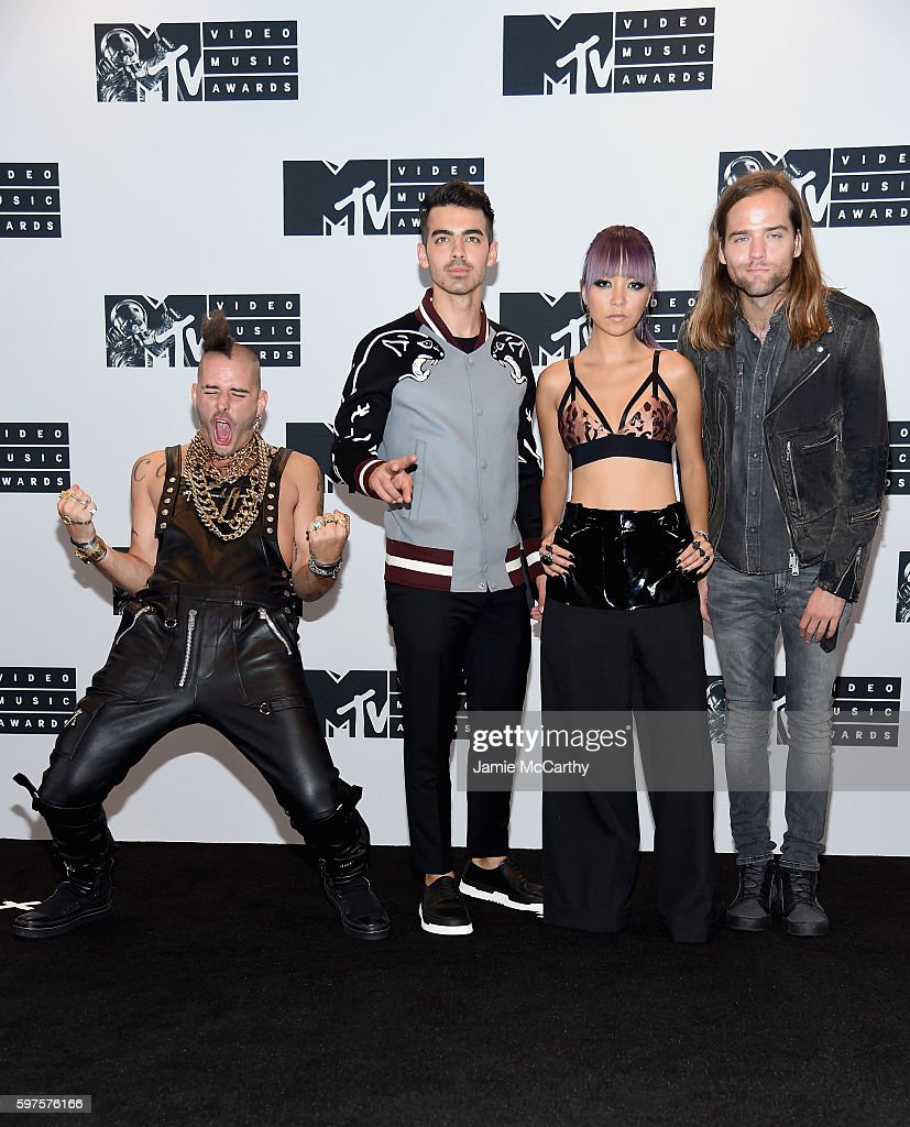 Cole Whittle, Joe Jonas, JinJoo Lee and Jack Lawless of DNCE attend the Press Room at the 2016 MTV Video Music Awards at Madison Square Garden on August 28, 2016 in New York City.