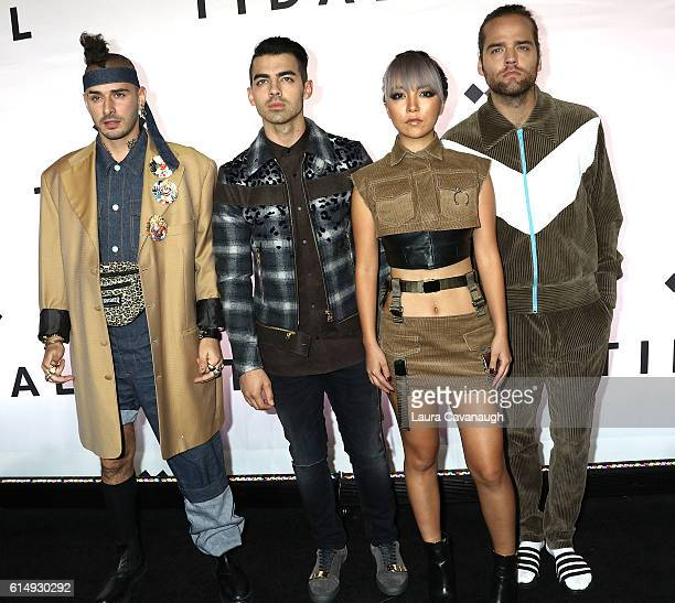 Cole Whittle Joe Jonas JinJoo Lee and Jack Lawless of DNCE attend TIDAL X 1015 at Barclays Center on October 15 2016 in New York City