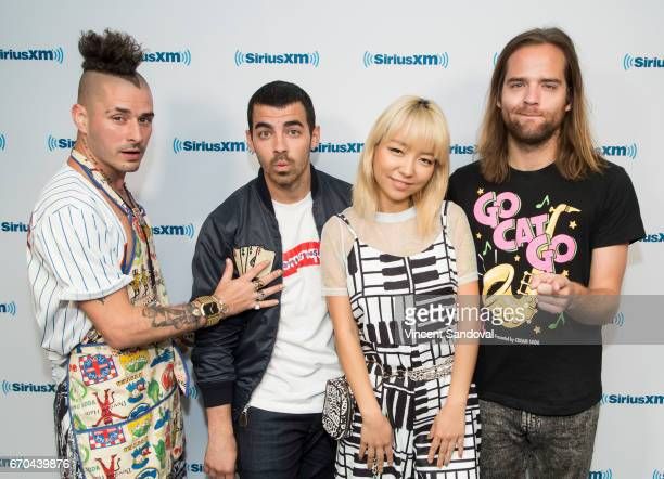 Cole Whittle Joe Jonas JinJoo Lee and Jack Lawless of DNCE visit Hits 1 In Hollywood on SiriusXM Hits 1 Channel at SiriusXM Studios on April 19 2017...