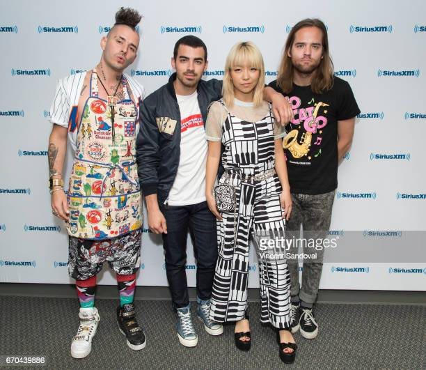 Cole Whittle Joe Jonas JinJoo Lee and Jack Lawless of DNCE visit 'Hits 1 In Hollywood' on SiriusXM Hits 1 Channel at SiriusXM Studios on April 19...