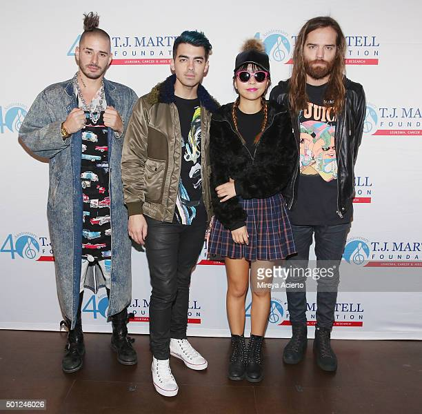 Cole Whittle Joe Jonas JinJoo Lee and Jack Lawless of rock band DNCE attend the 16th Annual TJ Martell Foundation New York Family Day at Brooklyn...