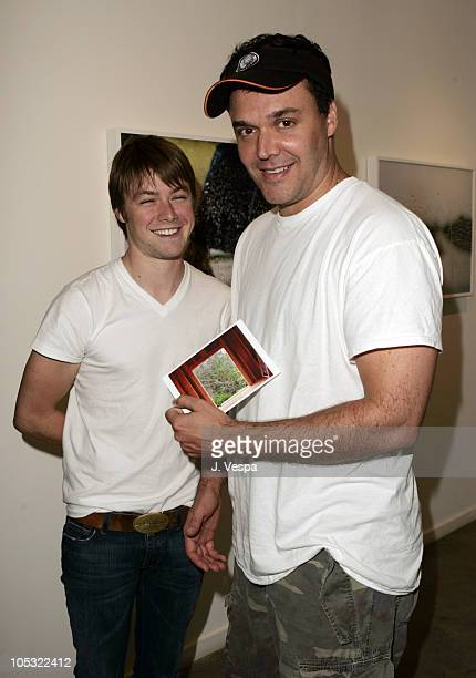 Cole Williams and David LaChapelle during Alexandra Hedison's Elements Photo Exhibition at White Room Gallery in Los Angeles California United States